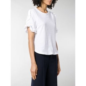 See by Chloe Frill Sleeve Crew Neck Tee